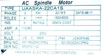 New Refurbished Exchange Repair  Yaskawa Motors-AC Spindle UAASKA-22CA1S Precision Zone
