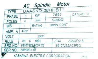 New Refurbished Exchange Repair  Yaskawa Motors-AC Spindle UAASKD-08HHB11 Precision Zone