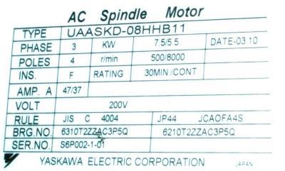New Refurbished Exchange Repair  Yaskawa Motors-AC Spindle UAASKD-08HHB11 Precision Zone