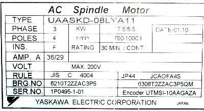 New Refurbished Exchange Repair  Yaskawa Motors-AC Spindle UAASKD-08LYA11 Precision Zone
