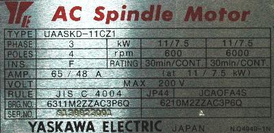 New Refurbished Exchange Repair  Yaskawa Motors-AC Spindle UAASKD-11CZ1 Precision Zone