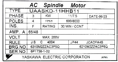 New Refurbished Exchange Repair  Yaskawa Motors-AC Spindle UAASKD-11HHB11 Precision Zone