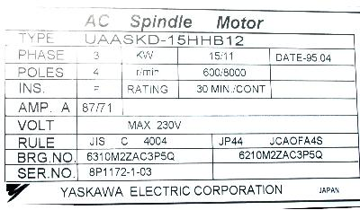 New Refurbished Exchange Repair  Yaskawa Motors-AC Spindle UAASKD-15HHB12 Precision Zone