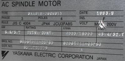 New Refurbished Exchange Repair  Yaskawa Motors-AC Spindle UAASWH-06CMU11 Precision Zone
