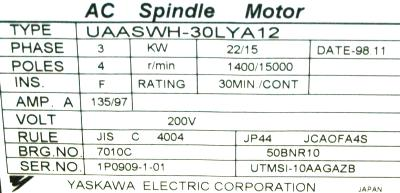 New Refurbished Exchange Repair  Yaskawa Motors-AC Spindle UAASWH-30LYA12 Precision Zone
