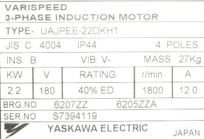 New Refurbished Exchange Repair  Yaskawa Motors-AC Turret UAJPEE-22DKH1 Precision Zone