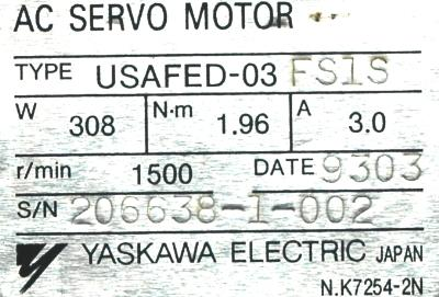 New Refurbished Exchange Repair  Yaskawa Motors-AC Servo USAFED-03FS1S Precision Zone