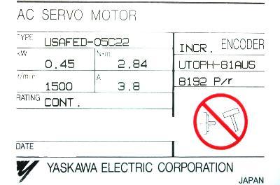 New Refurbished Exchange Repair  Yaskawa Motors-AC Servo USAFED-05C22 Precision Zone