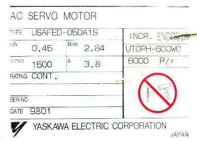 New Refurbished Exchange Repair  Yaskawa Motors-AC Servo USAFED-05DA1S Precision Zone