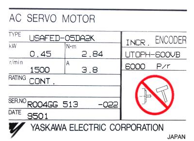 New Refurbished Exchange Repair  Yaskawa Motors-AC Servo USAFED-05DA2K Precision Zone