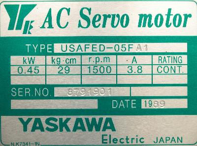 New Refurbished Exchange Repair  Yaskawa Motors-AC Servo USAFED-05FA1 Precision Zone