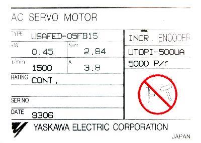 New Refurbished Exchange Repair  Yaskawa Motors-AC Servo USAFED-05FB1S Precision Zone