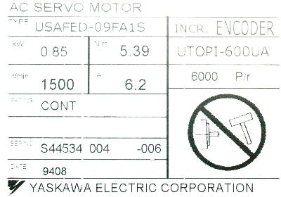 New Refurbished Exchange Repair  Yaskawa Motors-AC Servo USAFED-09FA1S Precision Zone