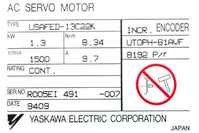 New Refurbished Exchange Repair  Yaskawa Motors-AC Servo USAFED-13C22K Precision Zone