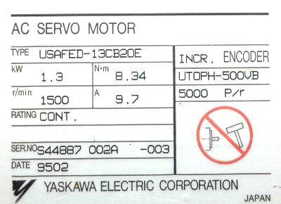 New Refurbished Exchange Repair  Yaskawa Motors-AC Servo USAFED-13CB2OE Precision Zone