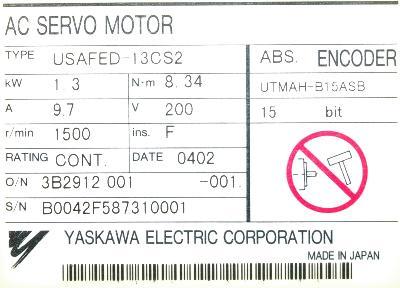 New Refurbished Exchange Repair  Yaskawa Motors-AC Servo USAFED-13CS2 Precision Zone