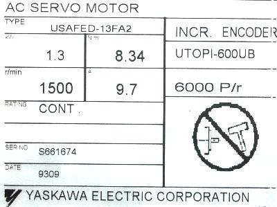 New Refurbished Exchange Repair  Yaskawa Motors-AC Servo USAFED-13FA2 Precision Zone