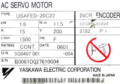 New Refurbished Exchange Repair  Yaskawa Motors-AC Servo USAFED-20C22 Precision Zone