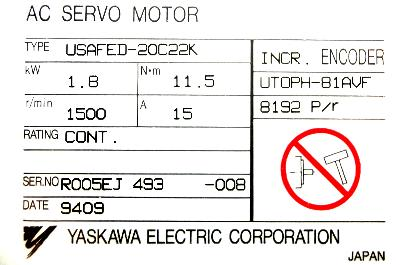 New Refurbished Exchange Repair  Yaskawa Motors-AC Servo USAFED-20C22K Precision Zone