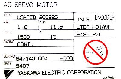 New Refurbished Exchange Repair  Yaskawa Motors-AC Servo USAFED-20C22S Precision Zone