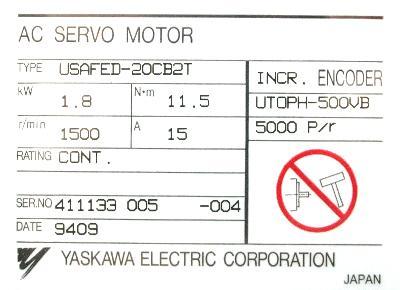 New Refurbished Exchange Repair  Yaskawa Motors-AC Servo USAFED-20CB2T Precision Zone