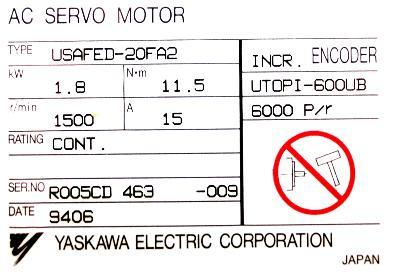 New Refurbished Exchange Repair  Yaskawa Motors-AC Servo USAFED-20FA2 Precision Zone