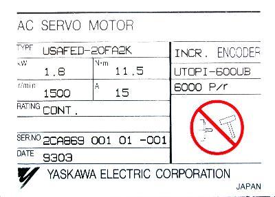 New Refurbished Exchange Repair  Yaskawa Motors-AC Servo USAFED-20FA2K Precision Zone