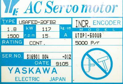 New Refurbished Exchange Repair  Yaskawa Motors-AC Servo USAFED-20FB2 Precision Zone