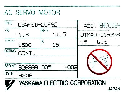 New Refurbished Exchange Repair  Yaskawa Motors-AC Servo USAFED-20FS2 Precision Zone