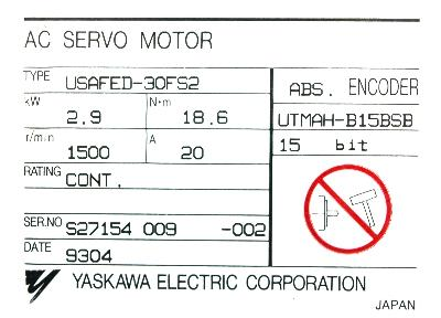 New Refurbished Exchange Repair  Yaskawa Motors-AC Servo USAFED-30FS2 Precision Zone