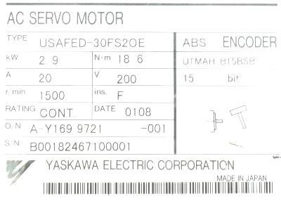 New Refurbished Exchange Repair  Yaskawa Motors-AC Servo USAFED-30FS2OE Precision Zone