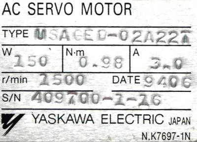New Refurbished Exchange Repair  Yaskawa Motors-AC Servo USAGED-02A22T Precision Zone