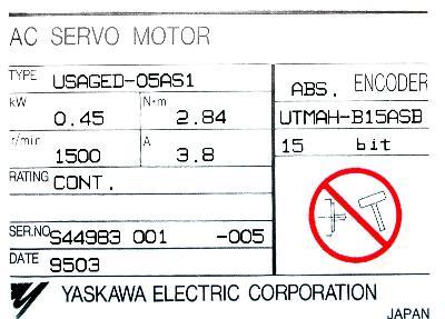 New Refurbished Exchange Repair  Yaskawa Motors-AC Servo USAGED-05AS1 Precision Zone