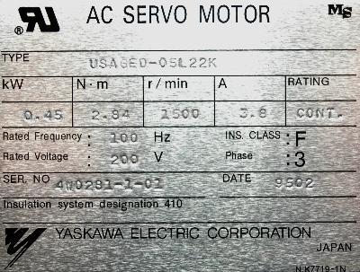 New Refurbished Exchange Repair  Yaskawa Motors-AC Servo USAGED-05L22K Precision Zone