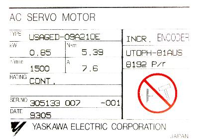New Refurbished Exchange Repair  Yaskawa Motors-AC Servo USAGED-09A21OE Precision Zone