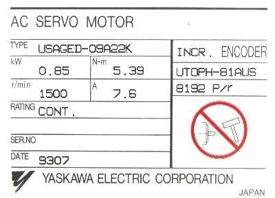 New Refurbished Exchange Repair  Yaskawa Motors-AC Servo USAGED-09A22K Precision Zone