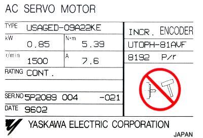 New Refurbished Exchange Repair  Yaskawa Motors-AC Servo USAGED-09A22KE Precision Zone
