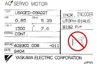 New Refurbished Exchange Repair  Yaskawa Motors-AC Servo USAGED-09A22T Precision Zone