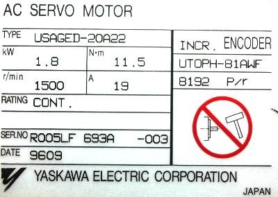 New Refurbished Exchange Repair  Yaskawa Motors-AC Servo USAGED-20A22 Precision Zone