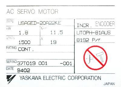 New Refurbished Exchange Repair  Yaskawa Motors-AC Servo USAGED-20A22KE Precision Zone