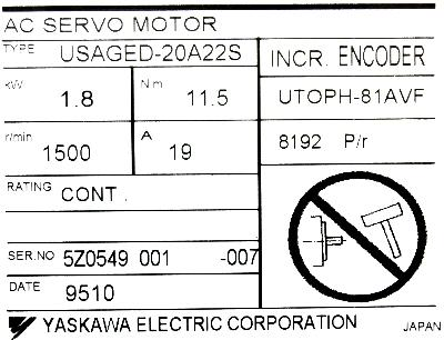 New Refurbished Exchange Repair  Yaskawa Motors-AC Servo USAGED-20A22S Precision Zone