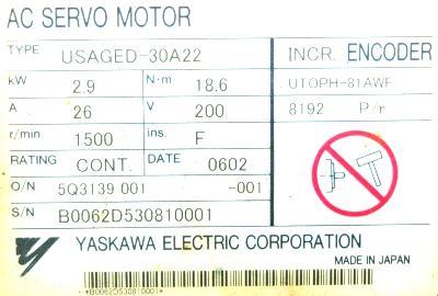 New Refurbished Exchange Repair  Yaskawa Motors-AC Servo USAGED-30A22 Precision Zone