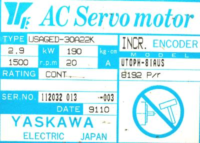 New Refurbished Exchange Repair  Yaskawa Motors-AC Servo USAGED-30A22K Precision Zone