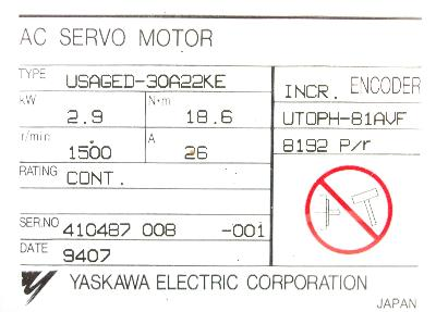 New Refurbished Exchange Repair  Yaskawa Motors-AC Servo USAGED-30A22KE Precision Zone