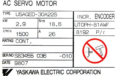 New Refurbished Exchange Repair  Yaskawa Motors-AC Servo USAGED-30A22S Precision Zone
