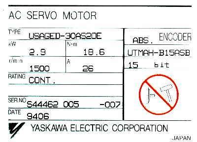 New Refurbished Exchange Repair  Yaskawa Motors-AC Servo USAGED-30AS2OE Precision Zone