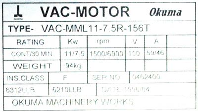 New Refurbished Exchange Repair  Okuma Motors-AC Spindle VAC-MML11-7.5R-156T Precision Zone
