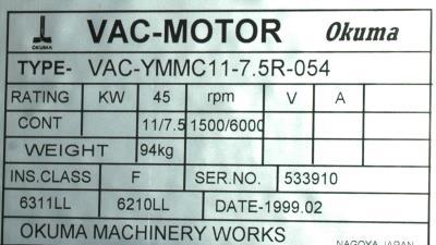 New Refurbished Exchange Repair  Okuma Motors-AC Spindle VAC-YMMC11-7.5R-054 Precision Zone