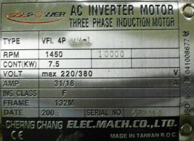 New Refurbished Exchange Repair  CHERNG CHANG MACHINERY ELECTRIC CO., LTD Motors-General Purpose VFI.4PVM-1 Precision Zone