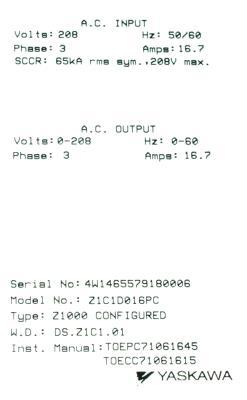 New Refurbished Exchange Repair  Yaskawa Inverter-General Purpose Z1C1D016PC Precision Zone
